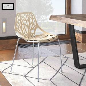 LeisureMod Asbury Cream Open Back Chrome Dining Side Chair (Single - Dining Height)