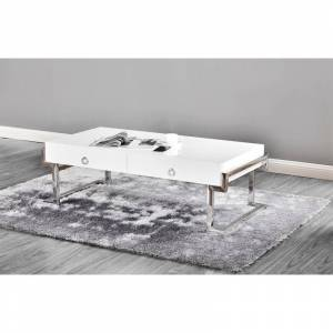 Best Master Furniture White Lacquer Rectangular Coffee Table (Silver)
