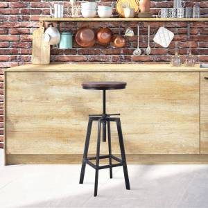Today's Mentality Plymouth Brushed Grey/Silver/Walnut Metal/Pinewood Industrial Bar Stool
