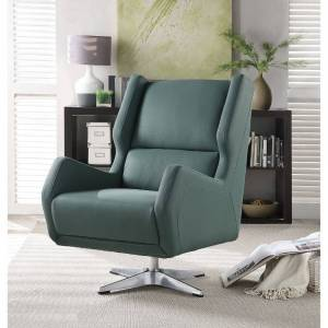 Benzara Faux Leather Upholstered Swivel Accent Chair with Metal Base, Green (Cream)
