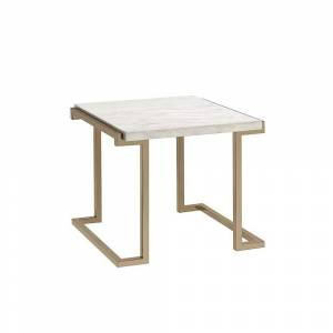 Benzara Marble Top End Table with Metal Base, White and Gold (Marble)