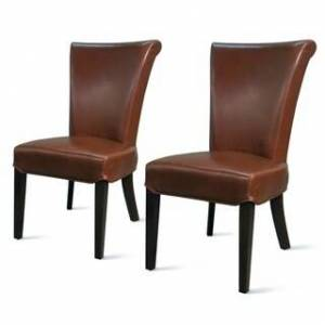 Overstock Bentley Bonded Leather Chair,Set of 2 - na (Cognac - Upholstered/Leather)