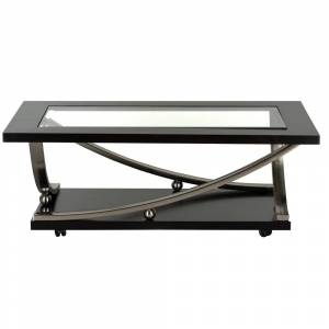 Standard Furniture Melrose Brown Wood Rectangle Cocktail Table with Glass Top and Casters
