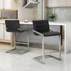 Christopher Knight Home Arias 26-in. Microfiber Counter Stool by Christopher Knight Home (Set of 2) (Black + Silver)