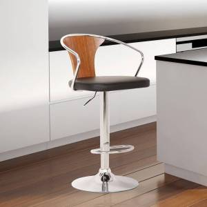 Today's Mentality Loretta Modern Adjustable Barstool in Chrome with Black Faux Leather and Walnut Back