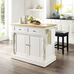 Crosley Furniture Oxford Butcher Block Top Kitchen Island In White Finish With Stools