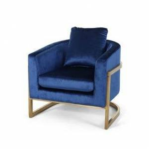Christopher Knight Home Briarcliff Modern Velvet Glam Armchair with Stainless Steel Frame by Christopher Knight Home (Navy Blue, Gold)