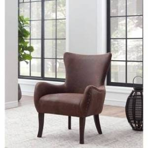 "Somette Wingback Accent Chair - 27""L x 28""W x 36.5""H (Aged Bomber)"
