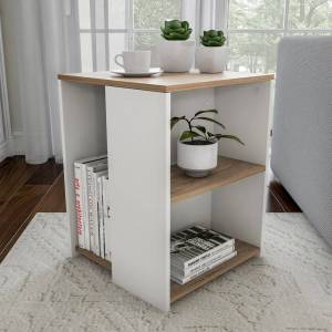 Porch & Den Hartford Brown/ White Cube Accent Side Table with Open Shelves