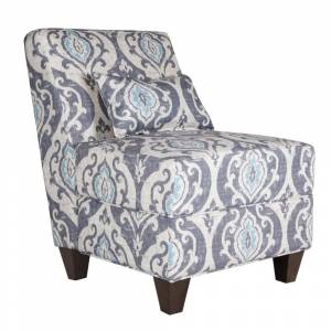 Benzara Fabric Upholstered Wooden Armless Accent Chair with Toss Pillow, Multicolor