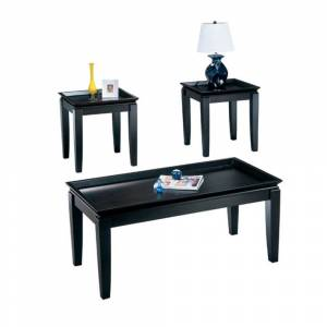 Benzara Wooden Table Set with Tray Top Design and Tapered Legs, Set of Three, Black (Black - Wood)
