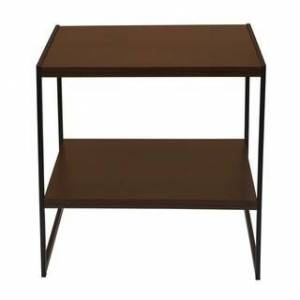 Overstock Household Essentials Square 2-Tier Walnut End Table