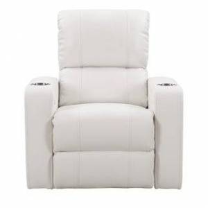 CorLiving Leather Gel Home Theatre Power Recliner with USB Port (White)