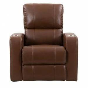 CorLiving Leather Gel Home Theatre Power Recliner with USB Port (Brown)