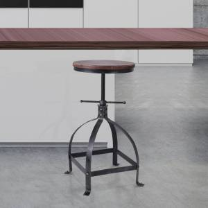 Today's Mentality Palmer Metal and Wood Industrial Backless Adjustable Metal Bar Stool