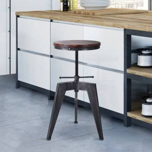 Today's Mentality Simon Industrial Backless Adjustable Metal Barstool with Rustic Pine Wood Seat