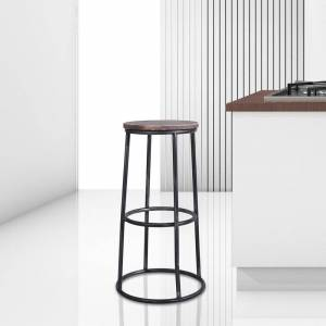 Today's Mentality Troy Industrial Backless Silver Brushed Grey Metal Bar Stool with Walnut-finished Rustic Pine Wood Seat