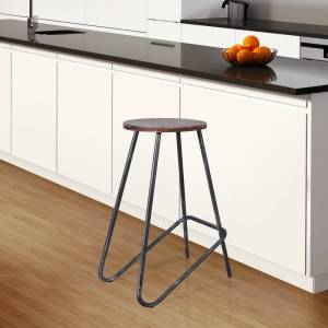 Today's Mentality Elise Grey/Silver Wood/Metal Industrial Backless Barstool