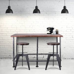 Today's Mentality Reagan Industrial Silver-Brushed Grey Metal Pipe Bar Table with Rustic Walnut-Finished Pinewood Top