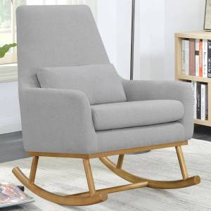 A Line Furniture Grey Upholstered Mid-century Contemporary Design Rocking Chair