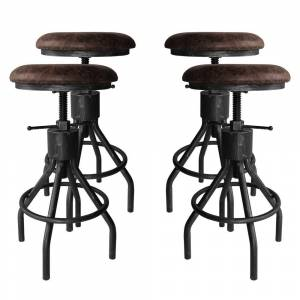 Overstock Paris Industrial Adjustable Backless Barstool in Silver Brushed Gray with Brown Fabric Seat - Set of 4 (Adjustable - Grey/Brown - Set of 4)