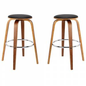 Overstock Brussel Mid-Century Backless Swivel Wood Barstool in Walnut with Black Faux Leather - Set of 2