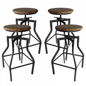 Overstock Amelia Industrial Adjustable Barstool in Silver Brushed Gray with Rustic Ash Wood Seat - Set of 4