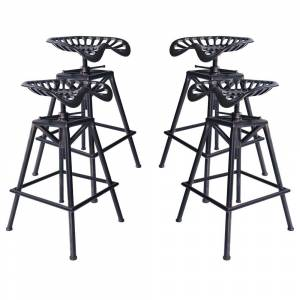 Overstock Tractor Industrial Backless Adjustable Barstool in Copper Brushed Gray - Set of 4