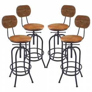 Overstock Adele Industrial Adjustable Barstool in Silver Brushed Gray with Rustic Pine Wood Seat and Back - Set of 4 (Adjustable - Set of 4 - Grey)