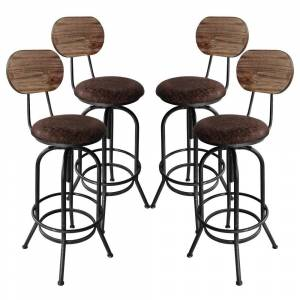 Overstock Adele Industrial Adjustable Barstool in Silver Brushed Gray with Brown Fabric Seat and Rustic Pine Back - Set of 4 (Adjustable - Set of 4 -
