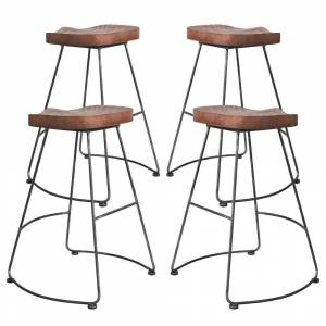 Overstock Sofia Industrial Backless Metal Barstool in Silver Brushed Gray with Rustic Brown Wood Seat - Set of 4