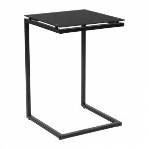 Offex Contemporary Black Glass End Table with Black Metal Frame