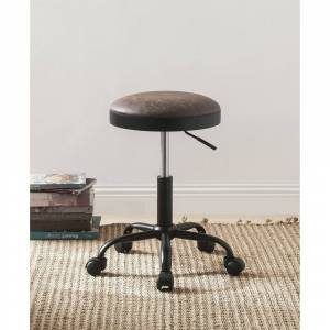 Benzara Adjustable Metal Stool with Leatherette Upholstered Seat, Set of Two, Mocha Brown and Black (Counter Height - 23-28 in. - Brown - Set of 2)