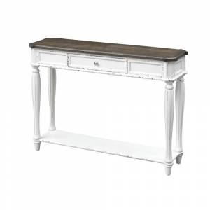"Somette Cottage Row One Drawer Console Table, White - 48""L x 14""W x 34.5""H (Veneer - Cottage Row White)"
