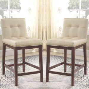 A Line Furniture Modern Tufted Design Beige Upholstered Counter Height Stools (Set of 2) (Set of 2)