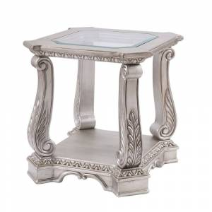 Overstock Antique Wooden End Table with Polyresin Engravings and Glass Top, Silver and Clear (Glass)