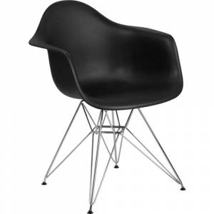 Offex Black Plastic Accent Side Chair with Chrome Base [OFX-456821-FF]