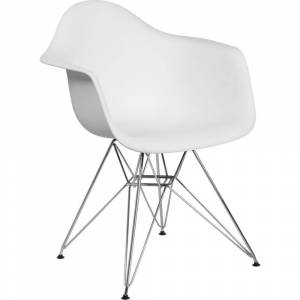 Offex White Plastic Accent Side Chair with Chrome Base [OFX-456827-FF]