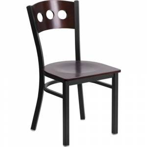 Offex Black Decorative 3 Circle Back Metal Restaurant Chair with Walnut Wood Back & Seat