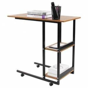 JERRY AND MAGGIE Movable Desk Office Home Desk Laptop with 4 Wheels Flexible Wooden Stand Desk Cart Tray Side Table for Bed - Natural wood tone (Brown)
