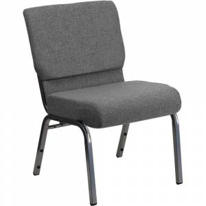 """Offex 21"""" Extra Wide Gray Stacking Church Chair with 3.75"""" Thick Seat - Silver Vein Frame"""
