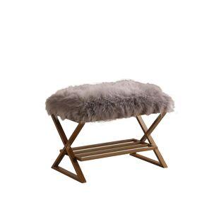 Overstock Billie Grey Faux Fur Matte Gold Vanity Seating