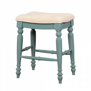 Overstock Saddle Top Wooden Counter Stool with Fabric Upholstery, Blue and Beige (Counter Height - 23-28 in. - Beige - Single)
