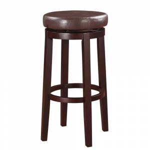 Overstock Fabric Upholstered Wooden Bar Stool with Slanted Legs, Brown