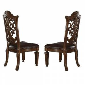 Benzara Traditional Faux Leather Upholstered Wooden Side Chair with Scrolled Carvings, Brown, Set of Two (Brown)