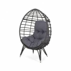 Christopher Knight Home Santino Outdoor Wicker Teardrop Chair with Cushion by Christopher Knight Home (Gray+Dark Gray Cushion)