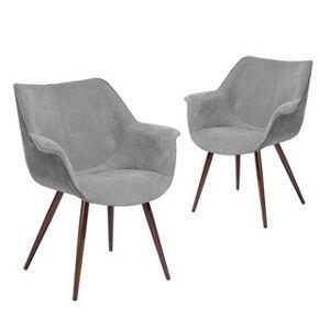 Silver Orchid Kellerman Living Room Side Chair (Set of 2) (Grey/Walnut)