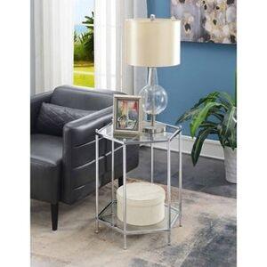 Silver Orchid Farrar Hexagonal Chrome End Table (Clear Glass/Chrome Frame)