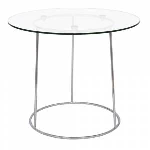 LeisureMod Jackson Round Chrome Glass Top Side End Table (Clear - Glass)
