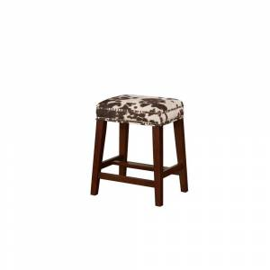 Overstock Traditional Style Wooden Counter Stool with Cow Print, Brown and White (Counter Height - 23-28 in. - Single)